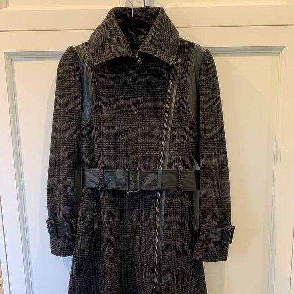 Rare Vintage Mackage Grey Plaid Wool Coat Medium